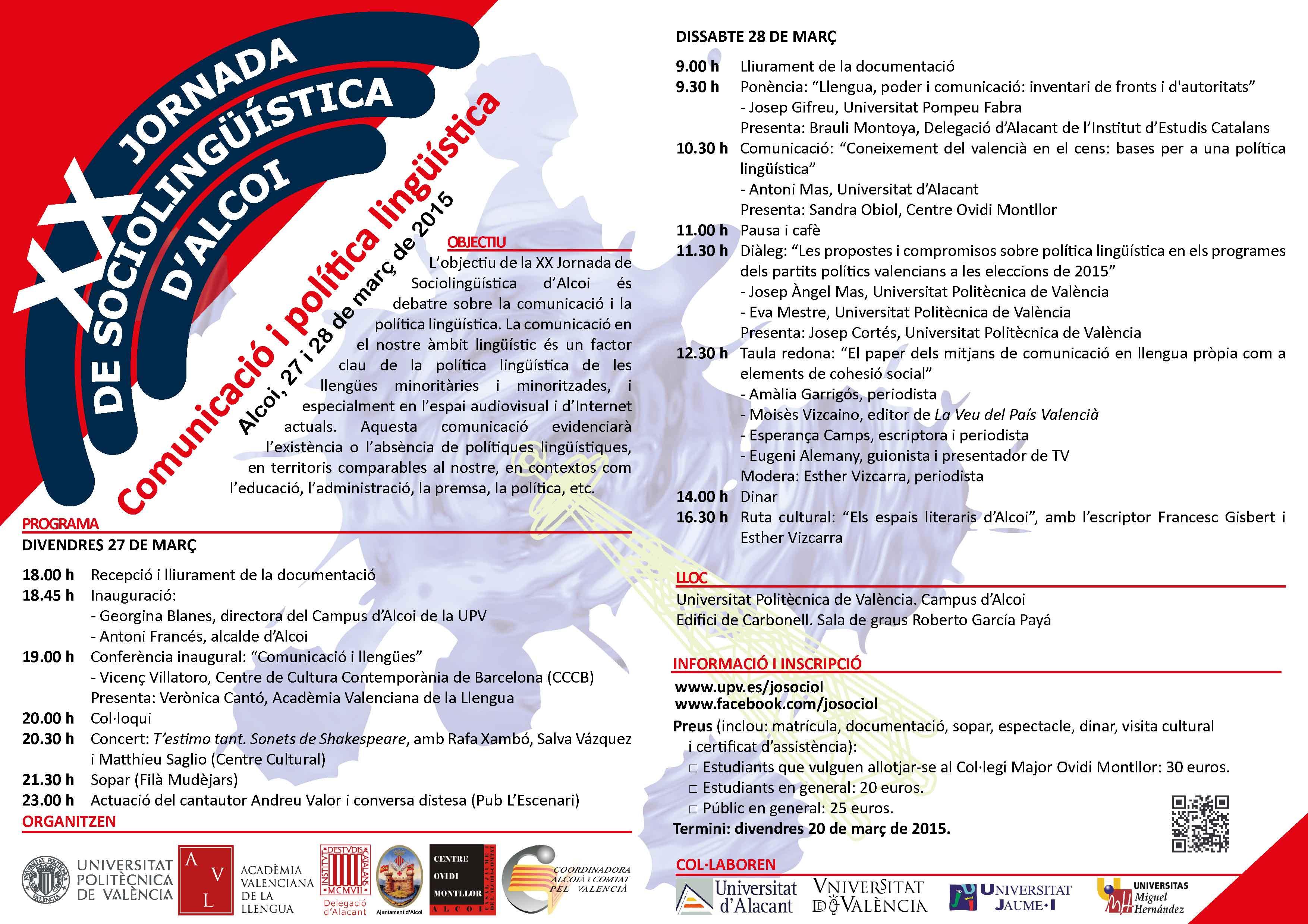 Programa XX Jornada de Sociolingüística d'Alcoi 2015