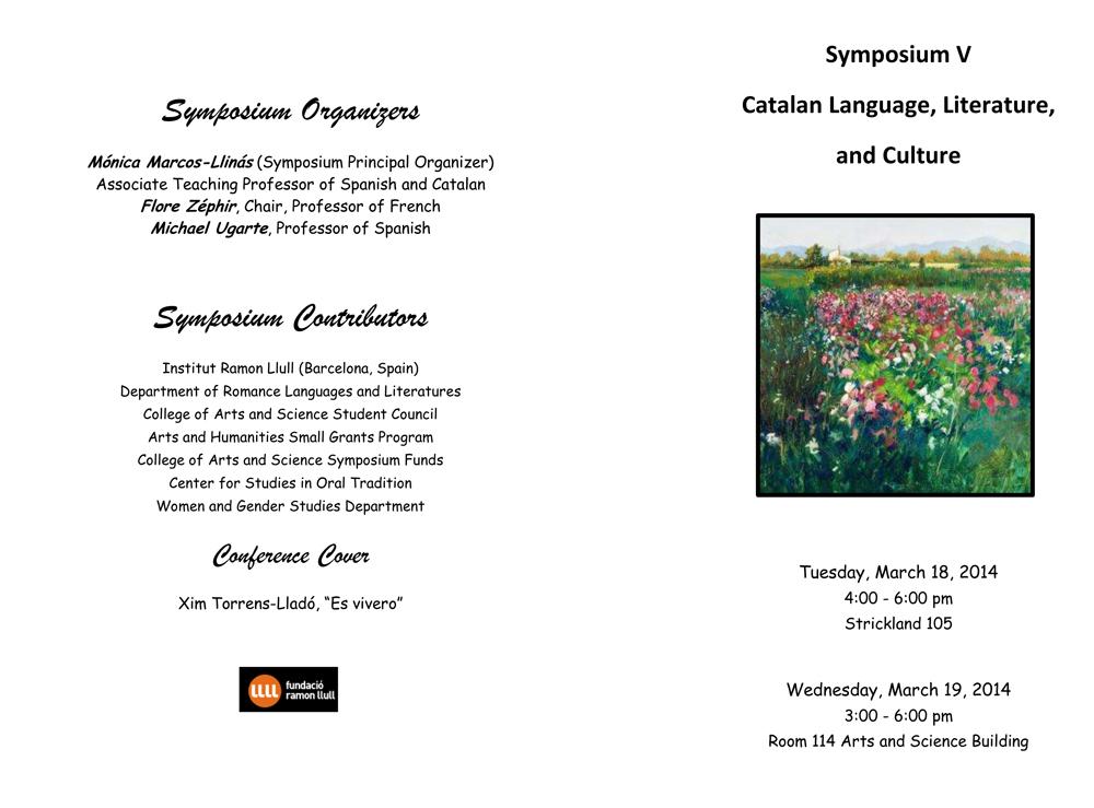 Symposium V on Catalan Language-programa 2014-1