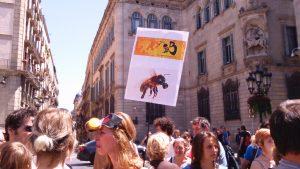 Manifestants contra els transgènics i el glisofat a la Plaça Sant Jaume (en el marc de la March Against Monsanto, 23/05/2015)