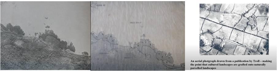 Figura 3. (a) Fotografia dels anys 30 en una Illa d'Indonèsia: Comentada pel fotògraf alemany Carl Troll. És una imatge aèria típica, però no gaire alta. (b) Imatge sobreposada on Troll hi identifica les diverses parts de les quals estava format el paisatge. (c) Fotografia aeura dibuixada d'una publicació de Troll, on defensa que els paisatges culturals s'empelten sobre paisatges parcel•lats naturalment.