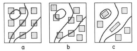 FIgura 4. (a,b,c).Representació de diferents tipus de stands (figures quadrangulars i rectangular (c)) i relevés (figures ovals, i polígons irregulars