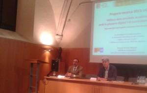 Martí Teixidó, president de la SCP i Pere Marquès, Vicepresident  i director de la recerca del Currículum Bimodal, durant la presentació de la mateixa.
