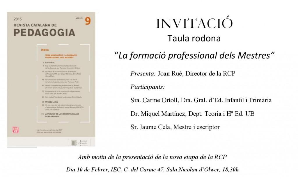 Invitació Taula rodona La formació professional dels mestres